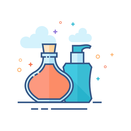 Aromatherapy icon in outlined flat color style Vector illustration.