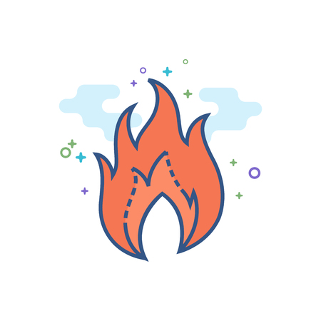 Fire icon in outlined flat color style. Vector illustration.