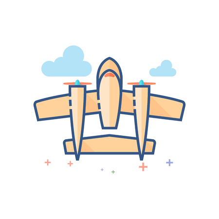Vintage airplane icon in outlined flat color style. Vector illustration. Illustration