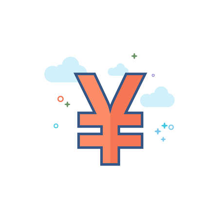 Japan Yen symbol icon in outlined flat color style. Vector illustration.