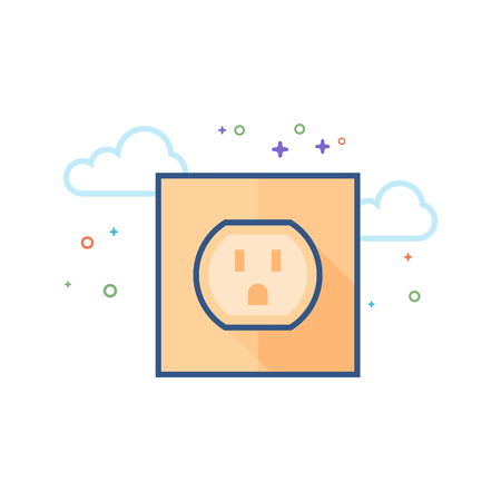 Electrical outlet icon in outlined flat color style. Vector illustration.