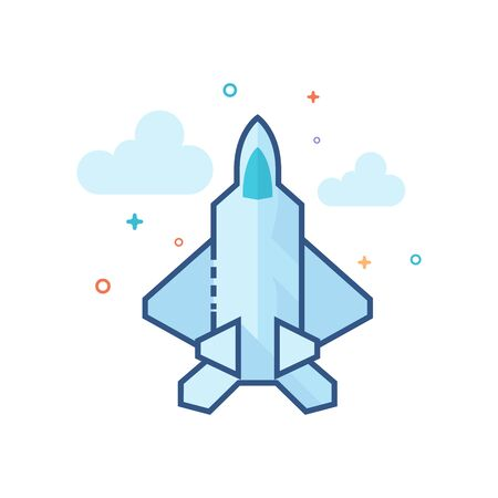 Fighter jet icon in outlined flat color style. Vector illustration. Illustration