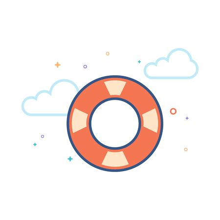 Ring buoy icon in outlined flat color style. Vector illustration. Illustration