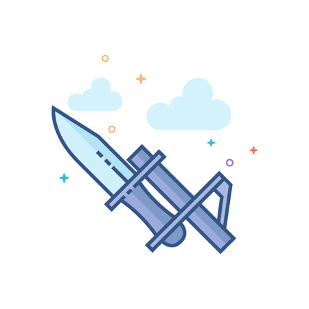 Bayonet knife icon in outlined flat color style. Vector illustration.