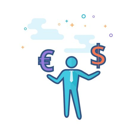 Businessman money icon in outlined flat color style. Vector illustration. Illustration