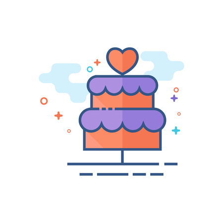 Wedding cake icon in outlined flat color style. Vector illustration. Vectores