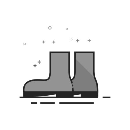 Wet boots icon in flat outlined grayscale style. Vector illustration.