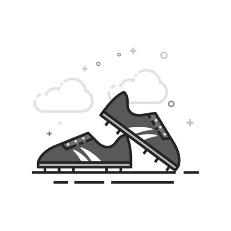Soccer Shoe icon in flat outlined grayscale style. Vector illustration.