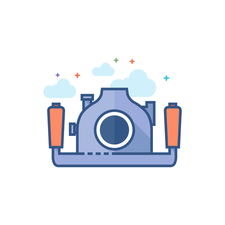 Underwater camera icon in outlined flat color style. Vector illustration. Ilustrace
