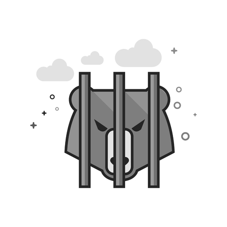 Caged animal icon in flat outlined grayscale style. Vector illustration.