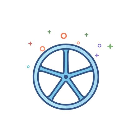 Bicycle wheel icon in outlined flat color style. Vector illustration.