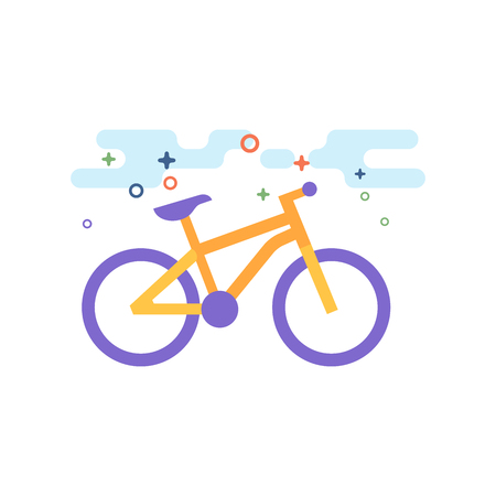 Mountain bike icon in outlined flat color style. Vector illustration. Illustration