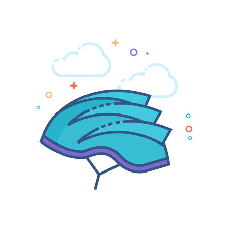 Bicycle helmet icon in outlined flat color style. Vector illustration. Illustration
