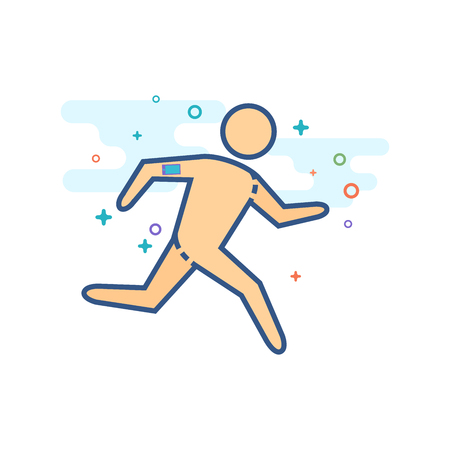 Running athlete icon in outlined flat color style. Vector illustration.