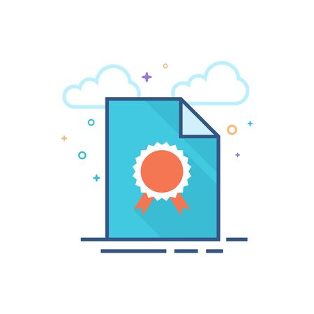 Contract document icon in outlined flat color style. Vector illustration. Ilustração