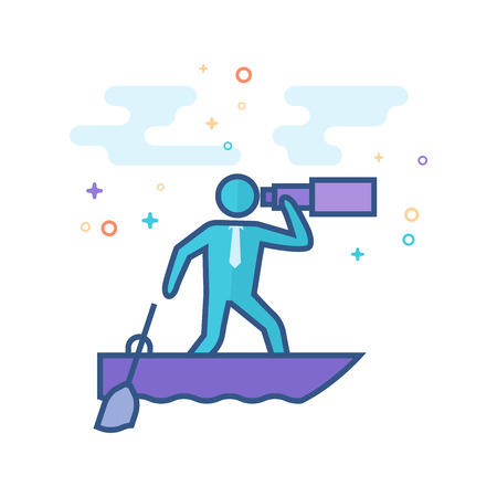 Businessman sailing icon in outlined flat color style. Vector illustration.