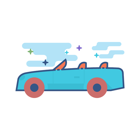 Sport car icon in outlined flat color style. Vector illustration.