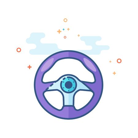 Steering wheel icon in outlined flat color style. Vector illustration. Illustration