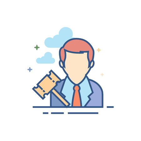 Auctioneer icon in outlined flat color style Vector illustration.