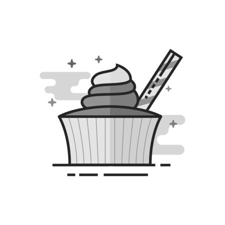 Cake icon in flat outlined grayscale style. Vector illustration.