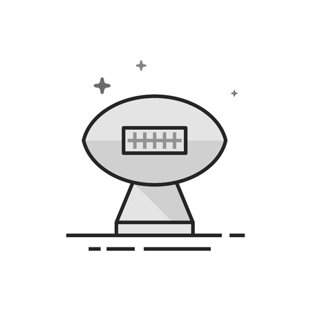 American football trophy icon in flat outlined grayscale style Vector illustration.