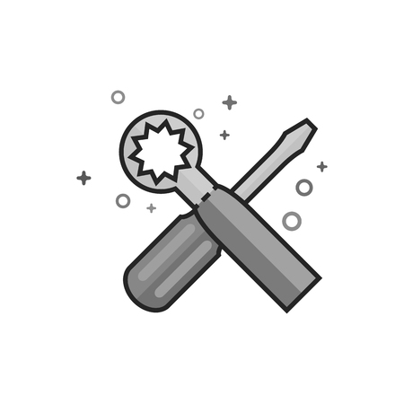Bicycle tools icon in flat outlined grayscale style. Vector illustration.