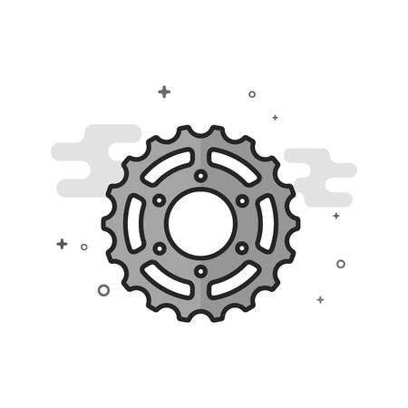 Sprocket icon in flat outlined grayscale style. Vector illustration.