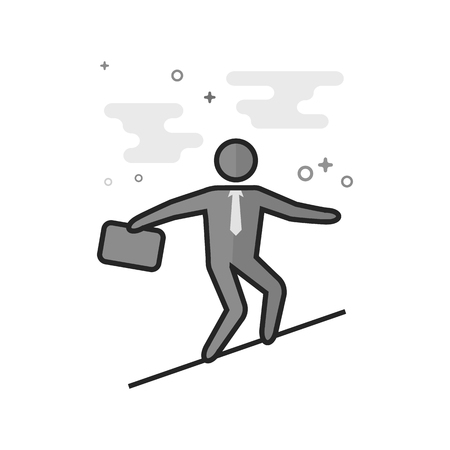 Businessman challenge icon in flat outlined grayscale style. Vector illustration.