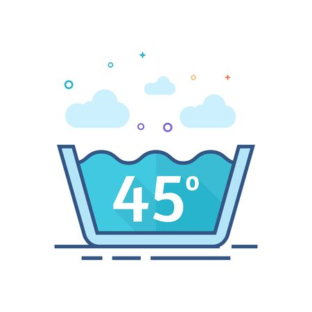 Washing temperature icon in outlined flat color style. Vector illustration.