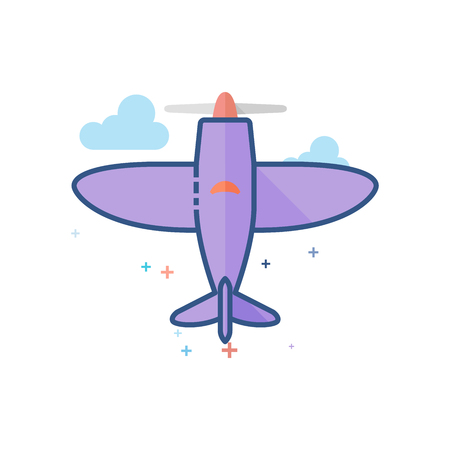 Vintage Airplane icon in outlined flat color style. Vector illustration.
