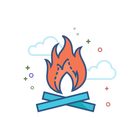 Camp fire icon in outlined flat color style. Vector illustration.