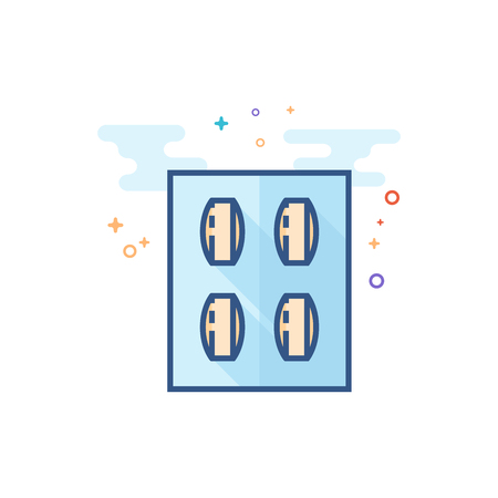 Pills icon in outlined flat color style. Vector illustration. Иллюстрация