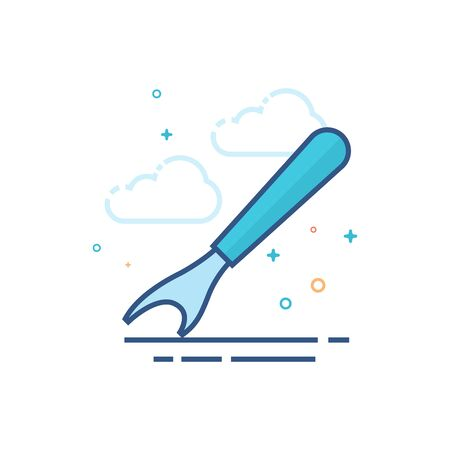 Seam ripper icon in outlined flat color style. Vector illustration. Illustration