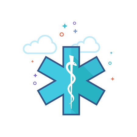 Medical symbol icon in outlined flat color style. Vector illustration.