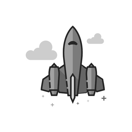 Stealth bomber icon in flat outlined grayscale style Vector illustration.