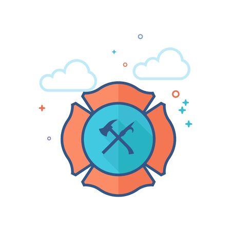 Firefighter emblem icon in outlined flat color style Vector illustration. Illustration
