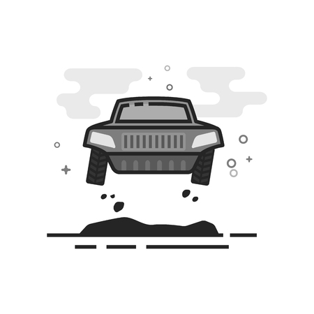 Rally car icon in flat outlined grayscale style. Vector illustration.