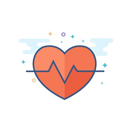 Heart rate icon in outlined flat color style. Vector illustration.