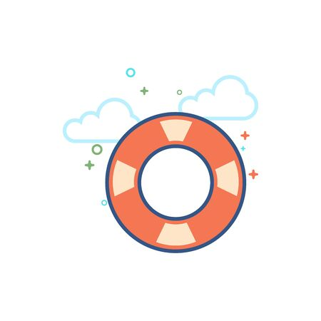 Ring buoy icon in outlined flat color style Vector illustration. Illustration