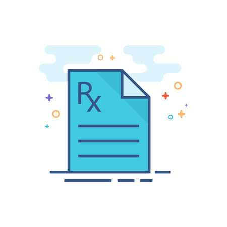 Medical prescription icon in outlined flat color style. Vector illustration.