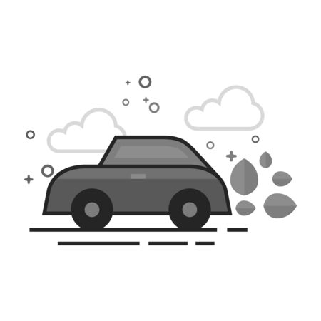 Green car icon in flat outlined grayscale style Vector illustration. Illustration