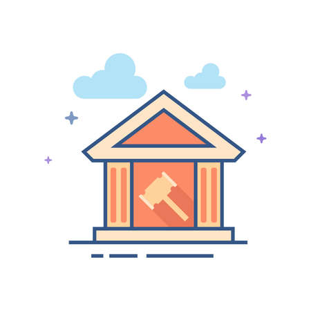 Auction house icon in outlined flat color style. Vector illustration. Vectores