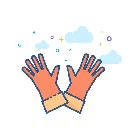 Cleaning glove icon in outlined flat color style. Vector illustration.