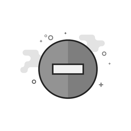 Stop sign icon in flat outlined grayscale style. Vector illustration.