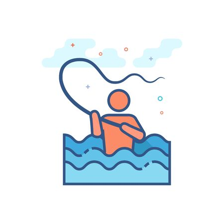 Fishing icon in outlined flat color style. Vector illustration.