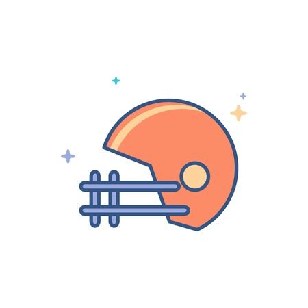 Football helmet icon in outlined flat color style. Vector illustration.