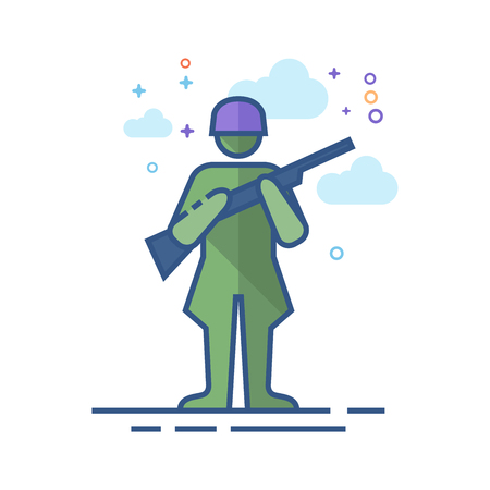 World War army icon in outlined flat color style. Vector illustration. Illustration