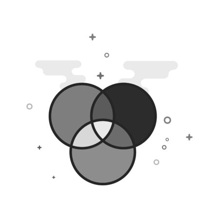 Color wheels icon in flat outlined grayscale style. Vector illustration.