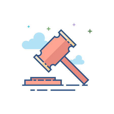 Wood hammer icon in outlined flat color style. Vector illustration.