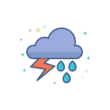 Weather overcast storm icon in outlined flat color style. Vector illustration. Illustration